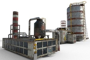 giant refinery electric station 3D