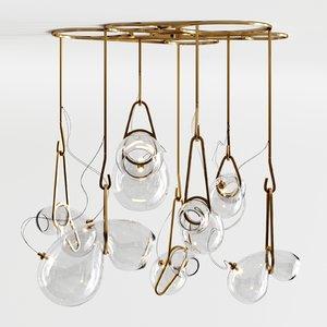3D 7-bulb catch chandelier