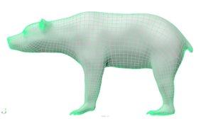 3D bear uv unwrapped model