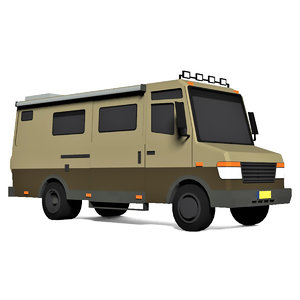 cartoon camping caravan van 3D