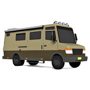 cartoon camping caravan van 3D