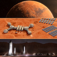 Martian base colony in the crater Planet Mars high detailed animated 3d scene.