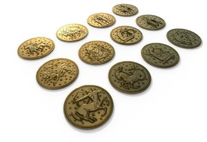 3D 12 zodiac coins