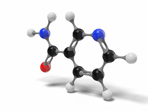 3D model niacinamide vitamin b3 molecule