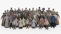 19th century low poly crowd with Anima file