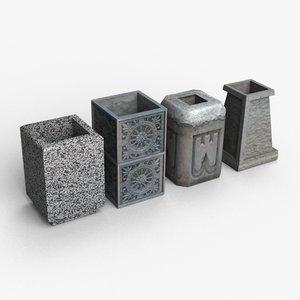low-poly trash bins 3D