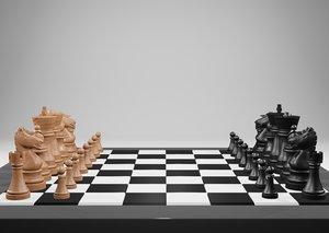 3D wooden chess model