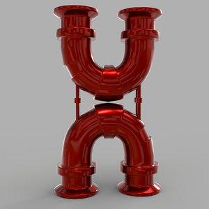 3D model h font