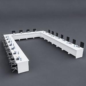 modular meeting table 3D model