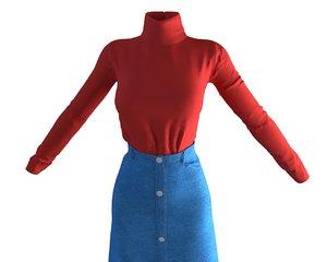designer skirt t-shirt model