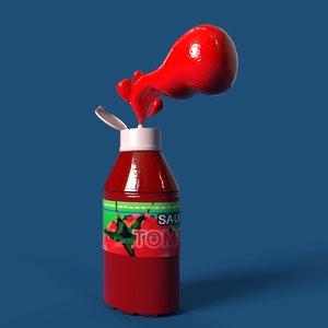 3D font letter j ketchup bottle model