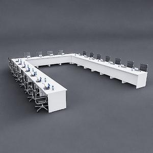 3D modular meeting table 02 model