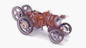 3D steam powered wheel motorbike model
