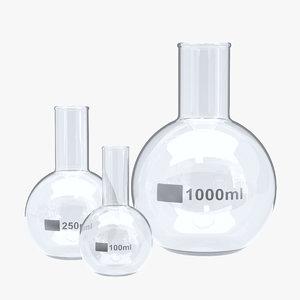 3D flat flasks