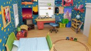 bedroom cartoons 3D model