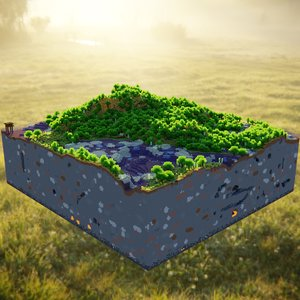 3D model craft minecraft terrain