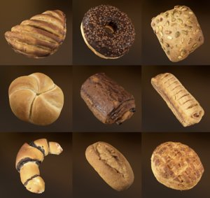 3D bakery products pack food