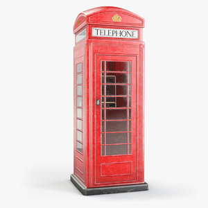 3D model old red phone box