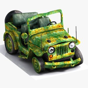 3D military jeep toon