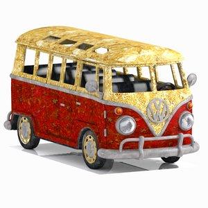3D wrecked minibus bus