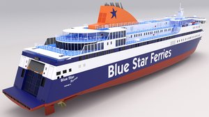 3D blue star ferries model