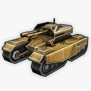 stylized rts retro tank 3D