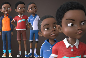 afro boy- cartoon rigged 3D model