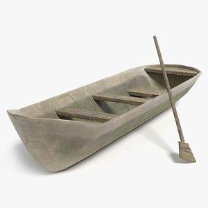 3D old canoe boat model