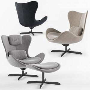 lazy armchair calligaris base 3D model