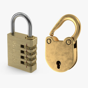 brass padlocks 3D model