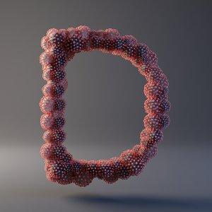 3D letter d covid 19 model