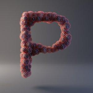 letter p covid 19 3D model