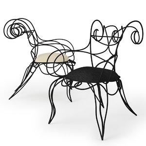 ram armchair ceccotti chair 3d model