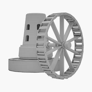 3D medieval watermill model