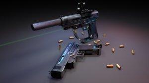 handgun red dot sight 3D model