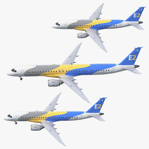 jet airliners embraer rigged 3D model