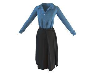 3D designer shirt box pleats model