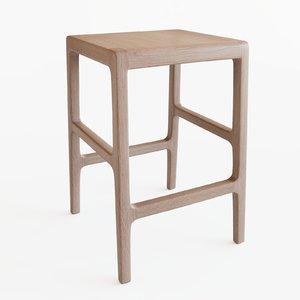 stools white oak 3D