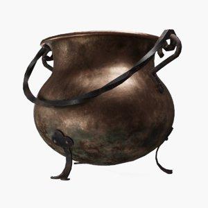3D model worn copper cauldron