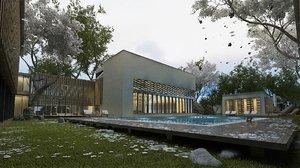 3D modern hotel swimming pool