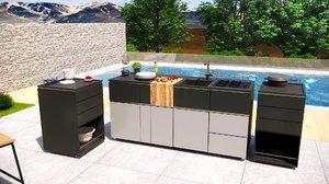 modern outdoor kitchen furniture 3D