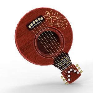 q font guitar 3D