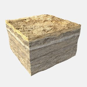 soil cut rock section 3D model