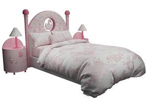 3D model girl bed