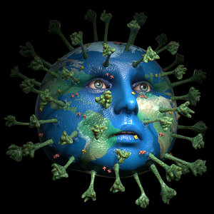 coronavirus virus earth 3D model