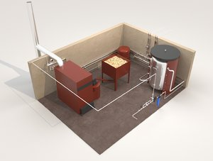 3D industrial boiler room wood model