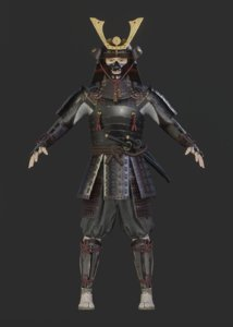 samurai character blender rigged 3D model