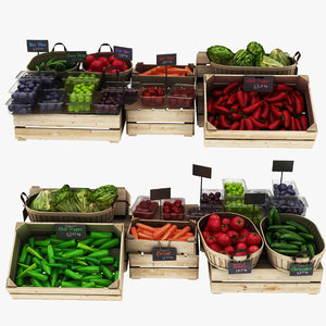 greengrocer rack 3 pepper 3D