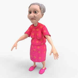elderly woman rigged 3D model