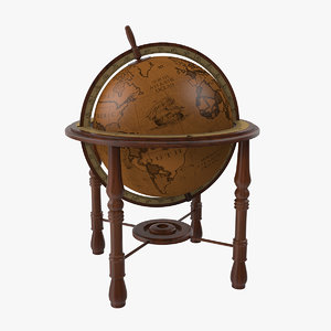 3D antique world globe model